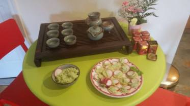 Rice Cracker with Edamame Spread and Radish
