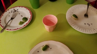 Our youngest attendee of the night, a very sage 14-year old, remarked 'you should take a picture of the plates with all the food finished...to show that everyone liked their food...' ;-)